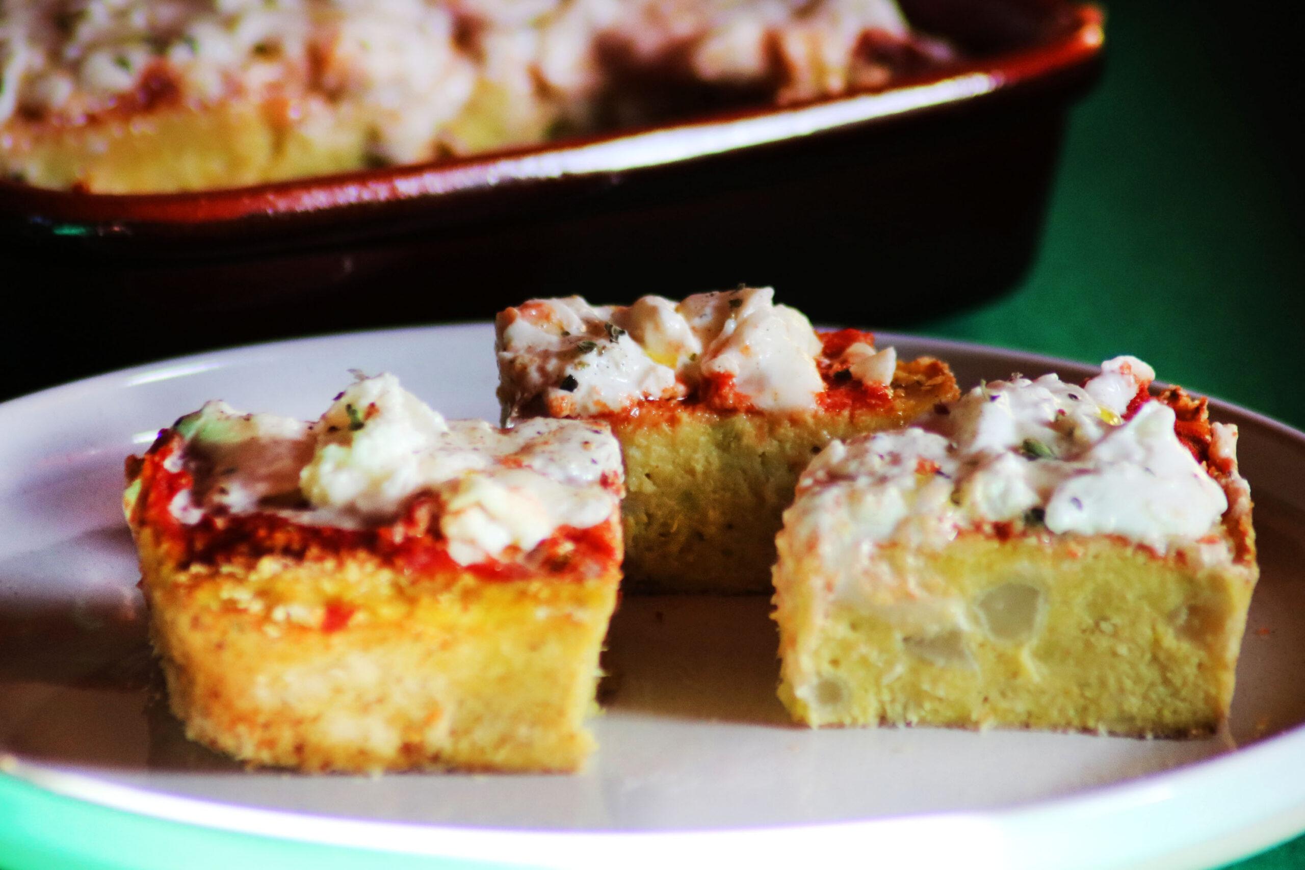 Pizza di broccolo con pomodoro e burratina